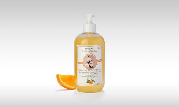 vente savon liquide bio à l'orange et à l'olive fabriqué en France